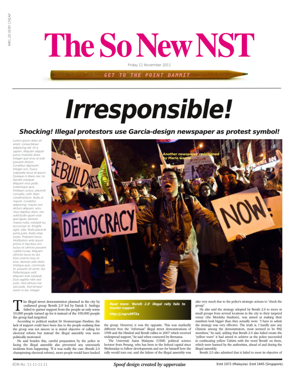 |Another spoof NST front page with a cameo role for another Garcia job.