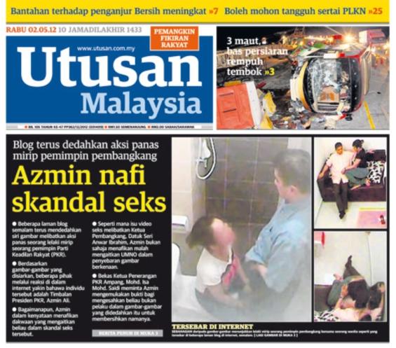Utusan Malaysia front page 2 May 2012