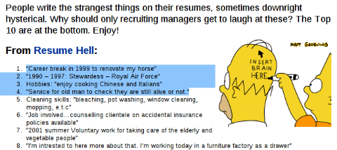 things to say in a resumes