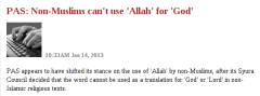 PAS  Non-Muslims can't use 'Allah' for 'God' - Malaysiakini-121405
