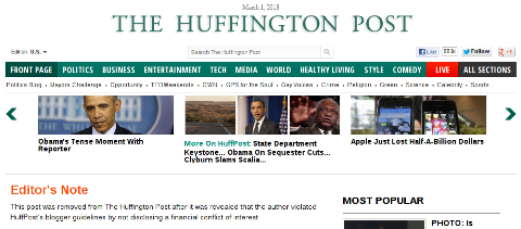 HuffPost removes Josh Trevino article