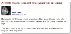 Activists chased, journalist hit at Adam vigil in Penang - Malaysiakini
