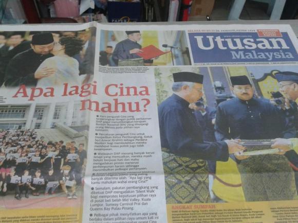 Utusan Malaysia front page 7 May 2013