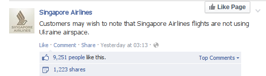 SIA's boast, after the MH17 disaster
