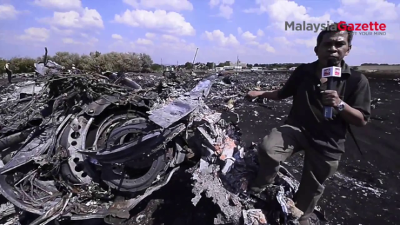 Standing on MH17 debris