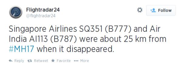 Flightradar24's tweet on Friday