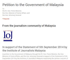 IoJ petition to the Govt of Malaysia