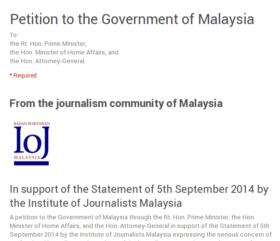 IoJ petition to the Govt of Malaysia