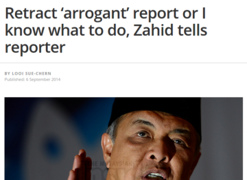MINISTERIAL BULLYING: Ahmad Zahid behaving like a cheap nightclub bouncer
