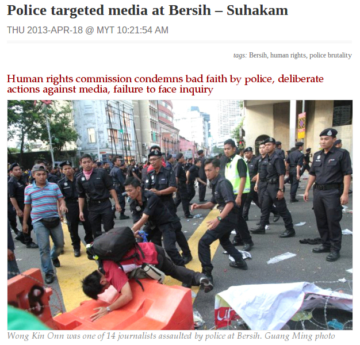 Human rights commission says the police made the press their target.