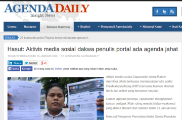 Big play in pro-Umno attack site Agenda Daily