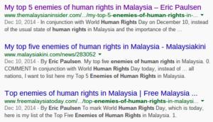 Eric Paulsen's list of Top 5 enemies of human rights