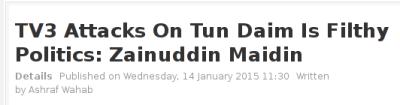 Umno-friendly Malaysian Digest reporting on Zam last week
