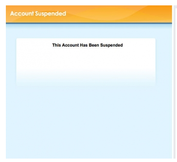 """Account suspended"" notice at Chedet.cc earlier today."