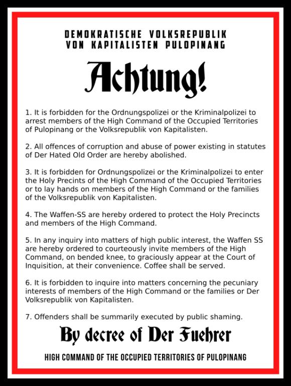 Public Notice No 1/2016 of the Demokratische Volksrepublik von Kapitalisten Pulopinang